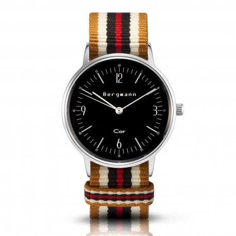 Bergmann Damen Herren Armbanduhr Cor silber Ouro Analog Quarz schwarzes Zifferblatt gold-weiß-braun-rot-NATO-Armband