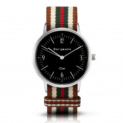 Bergmann Damen Herren Armbanduhr Cor silber Bege Analog Quarz schwarzes Zifferblatt braun-weiß-grün-rot-NATO-Armband