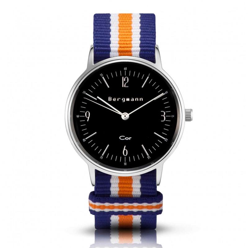 Bergmann Damen Herren Armbanduhr Cor silber Azul Analog Quarz schwarzes Zifferblatt blau-weiß-orange-NATO-Armband