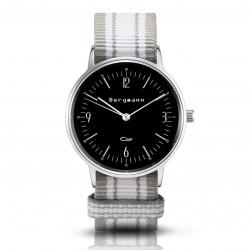 Bergmann Damen Herren Armbanduhr Cor silber Chinza Analog Quarz schwarzes Zifferblatt grau-schwarz-rot-NATO-Armband